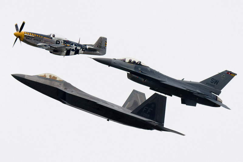 The heritage flight showing three generations of US fighters.