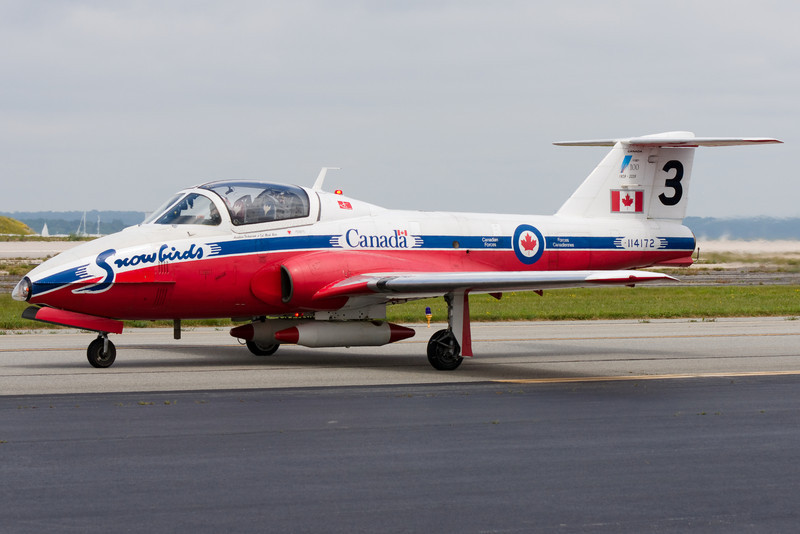 Snowbird 3 taxis by the flight line.