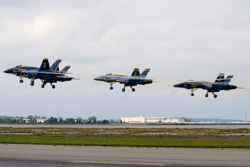The Blue Angels team takes off.