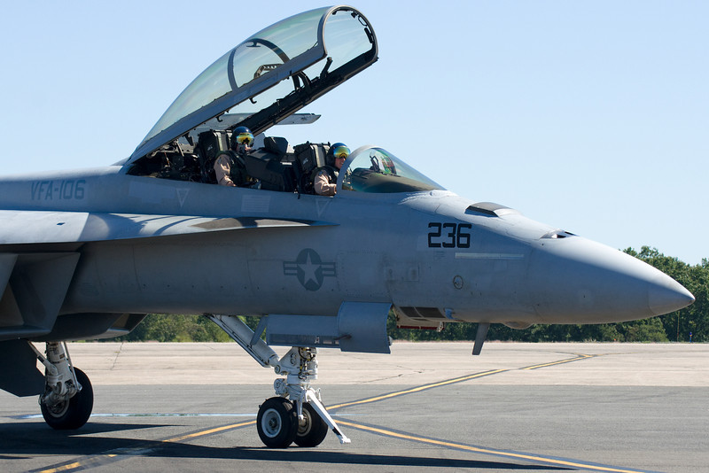 An F-18 returning after his performance.