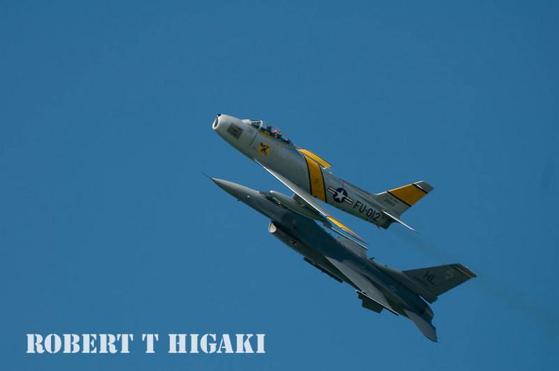 F86 sabre jet along with F-16 Falcon( Fleet week at San Francisco; Crissy Field) CA