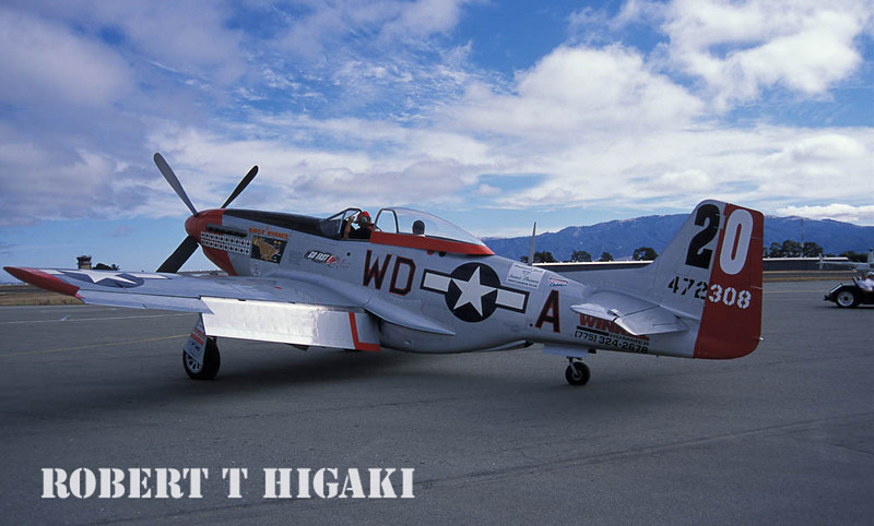 This is the Ridge Runner(P-51). The reason why I included this picture is because I rode in this place years ago. The owner/pilot modified the cockpit to carry a passenger. You can see someone in the back. I paid $500.00 for a thirty minute ride- it was worth every penny. Mind you- I am pretty sure the cost is higher. I still have the guys' phone number so if you want a ride( he is based in Hollister, CA), email me if you want that information.