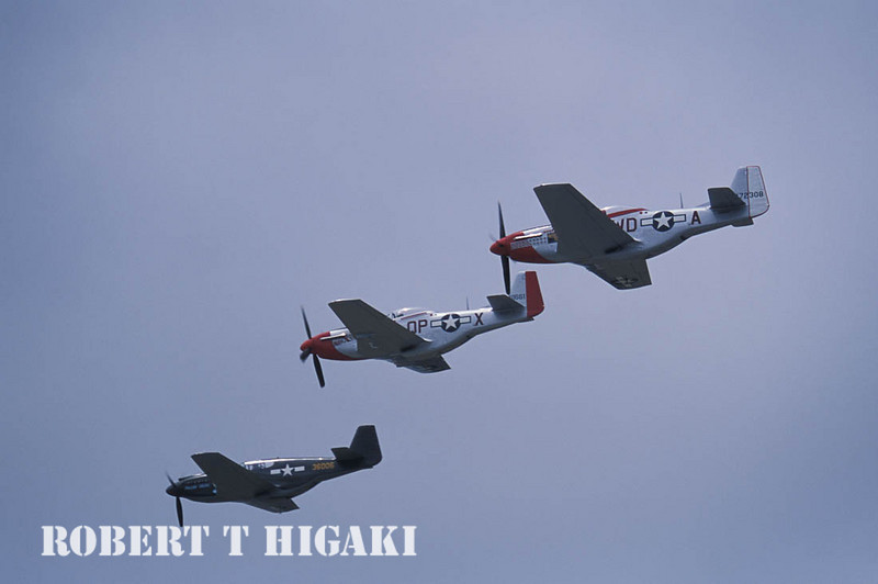 """There are several diffenrent models of the P-51. The one on the bottom, front is the """"A"""" version. The top two are the """"D"""""""