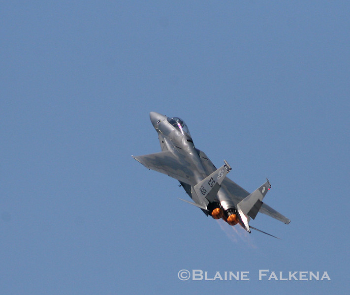 An F-15C Eagle flies over Langley Air Force Base during Airpower Over Hampton Roads April 26th, 2009. (BLAINE FALKENA)