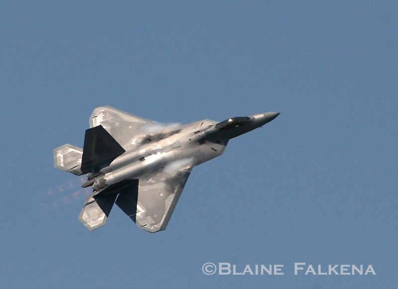 An F-22 Raptor flies over Langley Air Force Base during Airpower Over Hampton Roads April 26th, 2009. (BLAINE FALKENA)