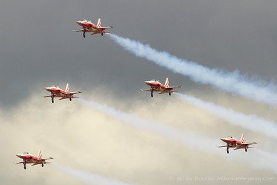 Patrouille Suisse, the Swiss Airforce national display team performing at The Royal International Air Tattoo (RAF Fairford)