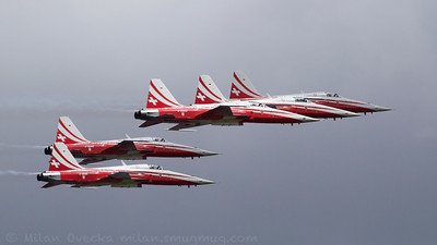 Patrouille Suisse, the Swiss Airforce national display team performing at The Royal International Air Tattoo (RAF Fairford).
