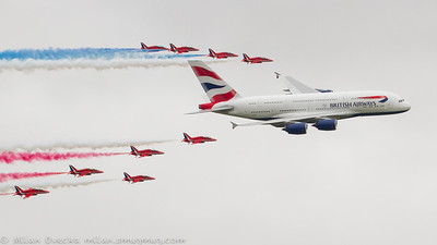 British Airways Airbus A380841 flypast with Red Arrows