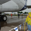 Standing under wing of A380 to keep out of rain on Thursday.