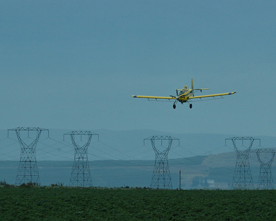 Crop Duster and transmission lines and towers.