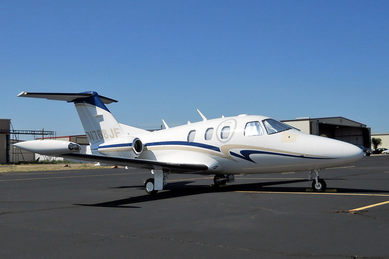 Eclipse 500 [2007] N768JF<br /> Casparis Airport, Alpine, Texas - August 2012<br /> <br /> Upon its initial delivery in 2006, the Eclipse 500 became the first in a new class of Very Light Jet. At the time of its introduction, the Eclipse 500 was the only general aviation jet on the market without a lavatory, a feature that many executives and other jet purchasers are used to having. Passengers needing to relieve themselves on the Eclipse 500 will be required to bring along a portable container, such as a Human Element Range Extender. As this jet is intended for distances of 300-500 miles (40-80 minutes), this is not considered to be a major disadvantage.<br /> <br /> This aircraft is registered to Milestown Services LLC out of Newport Coast, California. (I'll bet they needed a bathroom break between there and here.)