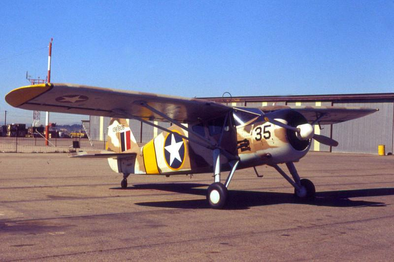 "Fairchild UC-61 Forwarder [1941] N46614 (s/n 41-38808)<br /> Oxnard Airport, Oxnard, California - December 1972<br /> <br /> Although listed in the FAA Registry as a Fairchild 24W-41A, this aircraft rolled out of the factory in 1941 as a UC-61 Forwarder, the military version of Fairchild's extremely popular Model 24. It was then slated to be transferred to the RAF as an Argus I (the British equivalent), but it was never delivered. It's seen here in painted in the color scheme of the North Africa campaign during ""Operation TORCH."" The yellow border on the roundels helped Allied gunners identify friendly aircraft.<br /> <br /> This aircraft is powered by a 165-hp Warner Super Scarab radial engine. Production run for the 1941 UC-61 was 640 aircraft."