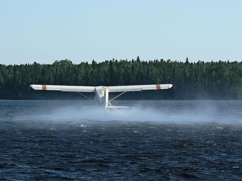 Dehaviland Beaver taking off from Red Lake, Ontario.<br /> <br /> June 2005.
