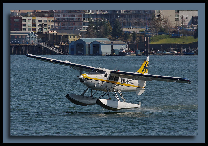 Harbour Air Turbo Otter C-GOPP leaving Vancouver Harbour.