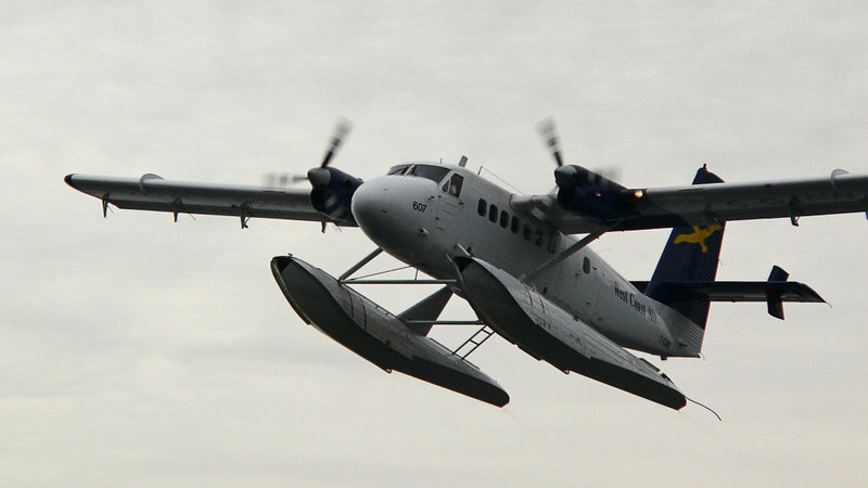 The same Twin Otter that flew by the ferry.