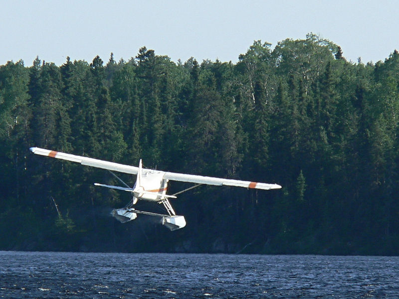 Dehaviland Beaver taking off from Red Lake, Ontario. <br /> <br /> June 2005.