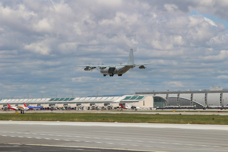 C-130 doing touch-and-go landing at SJC, April 2, 2014.