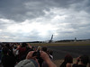 A380 take off - just before the jet exhaust gasses hit the crowd with debris from the runway!
