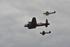 Battle of Britain historic flight group.<br /> <br /> Lancaster, Hurricane and Spitfire.
