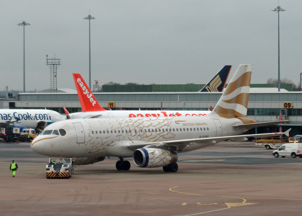 G-EUPG Airbus A319-131 (Manchester Airport) British Airways - feathers paint scheme 3