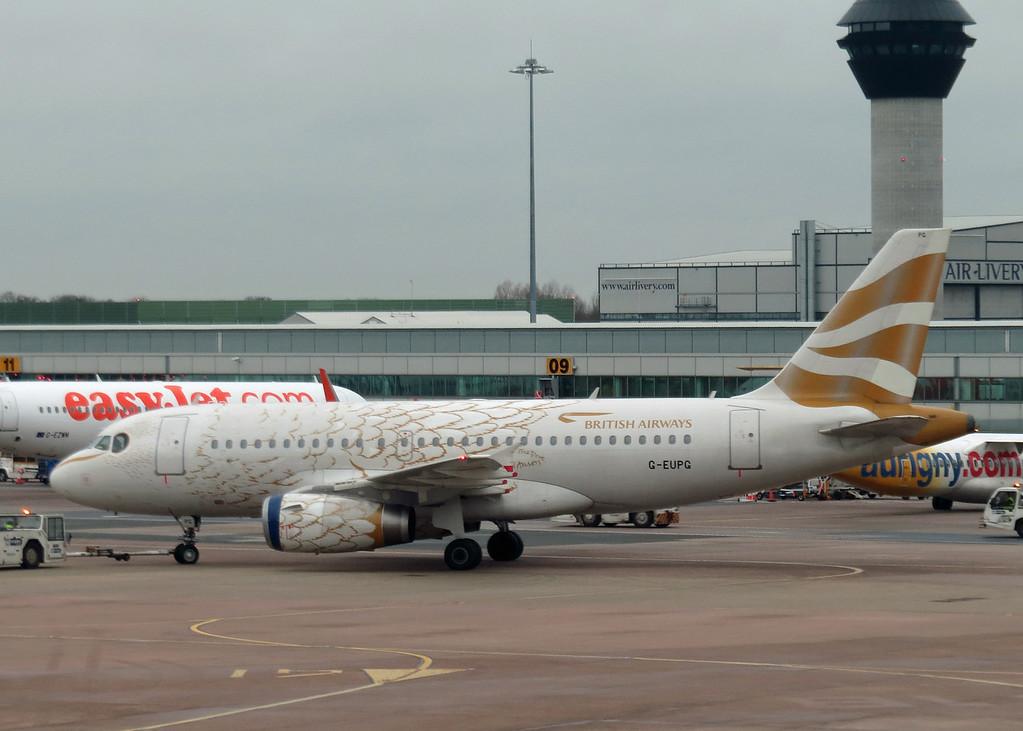 G-EUPG Airbus A319-131 (Manchester Airport) British Airways - feathers paint scheme