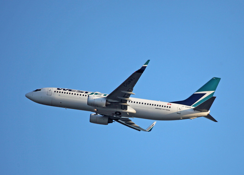 C-GWWJ Boeing B737-8CT (in flight over Vancouver) Westjet