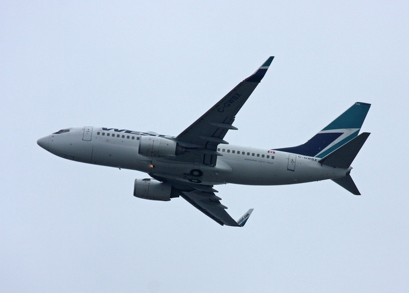 C-GWBX Boeing B737-7CT (in flight over Vancouver) Westjet