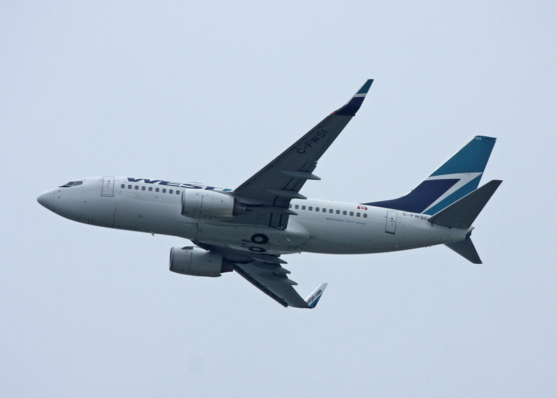 C-FWSI Boeing B737-7CT (in flight over Vancouver) Westjet