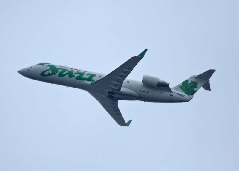 C-GKEZ Bombardier CL-600-2B19 (In flight over Vancouver) Jazz Aviation LP