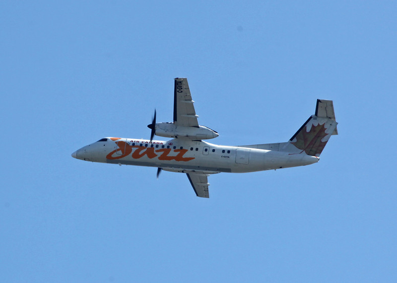 C-GVTA Dehavilland DHC-8-301 (in flight over Vancouver) Jazz Aviation LP