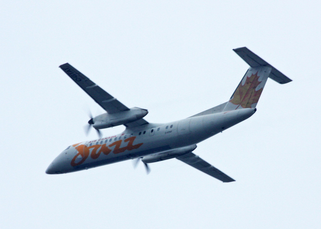 C-GTAT Dehavilland DHC-8-301 (in flight over Vancouver) Jazz Aviation LP