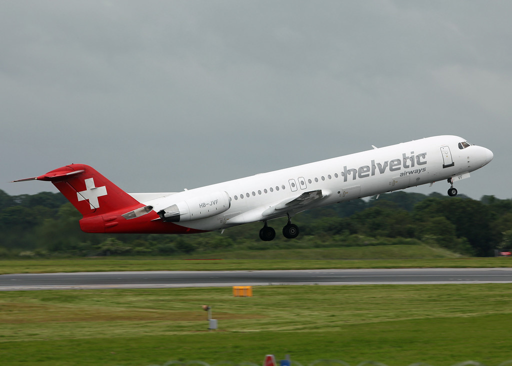 HB-JVF Fokker 100 (MAN) Helvetic Airways