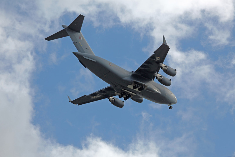 MAA Boeing C-17A Globemaster III (over Stockport on final approach to MAN) Qatar Emiri Air Force
