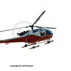 a swiss helicopter (model allouette II), isolated on white
