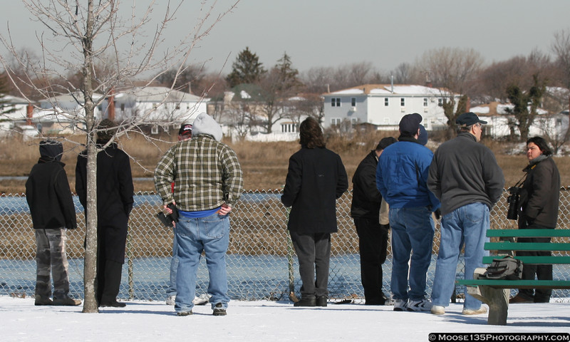 Spotters from near and far gather to witness the arrival of the first Airbus A-380 to New York.