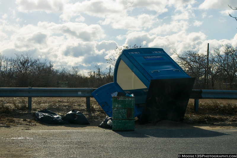 It was so windy at Howard Beach, the outhouse blew over!