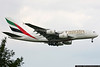 First Airbus A380 revenue flight, Emirates Airlines Flt 3801, arrives at JFK on August 1, 2008.