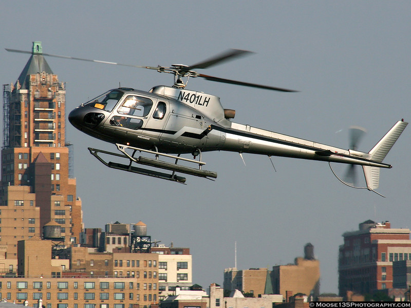 Approaching the Downtown Manhattan Heliport. This helicopter was destroyed in a collision with a Piper Lance on August 8, 2009 over the Hudson River, with the loss of 9 on the two aircraft. Dedicated to the memory of those lost.