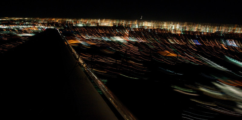 Light trails from airplane