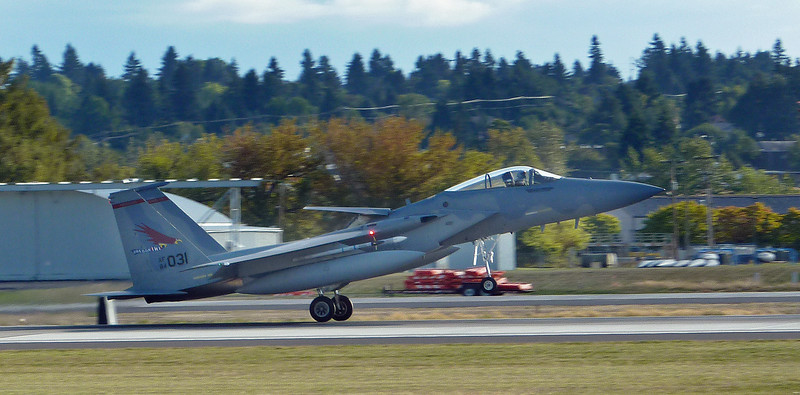 OR ANG F-15 just touching down at PDX. September, 2013.