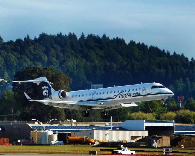 Alaska Airlines RJ on short final to PDX, September, 2013.