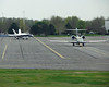Cessna Citation TEN test aircraft and NASA F18 chase plane taxi out of Cessna's Wichita Mid-Continent Airport facility, March 2012.