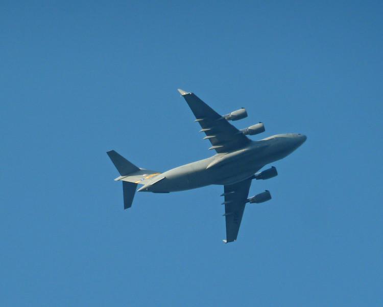C-17 flies overhead