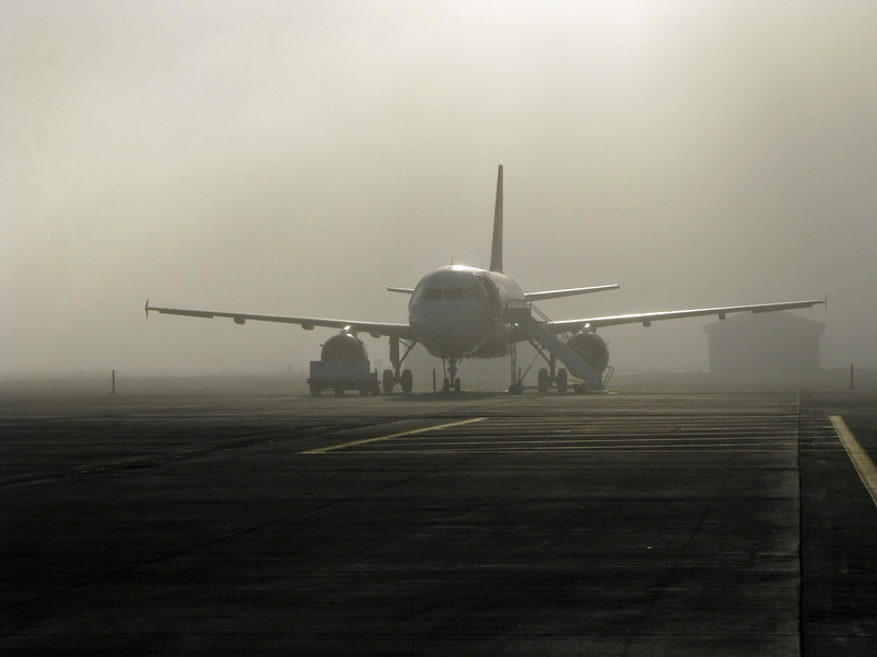 Foggy morning departure. Seattle-Tacoma Int'l Airport, Fall 2010.