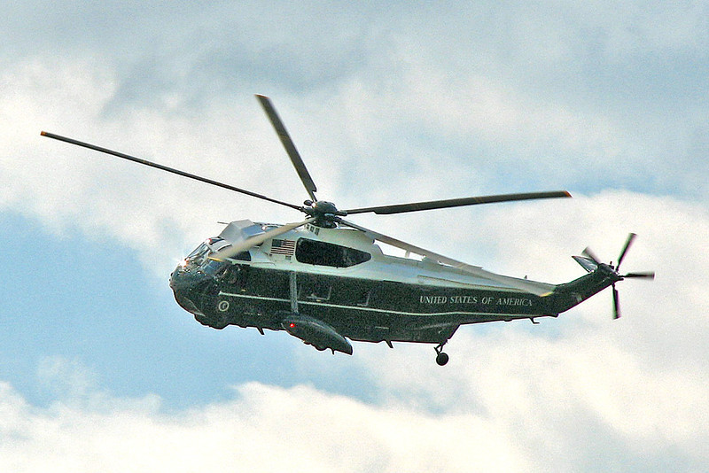 Marine One on approach to the White House as photographed from the Mall area in Washington, D.C., May, 2008.