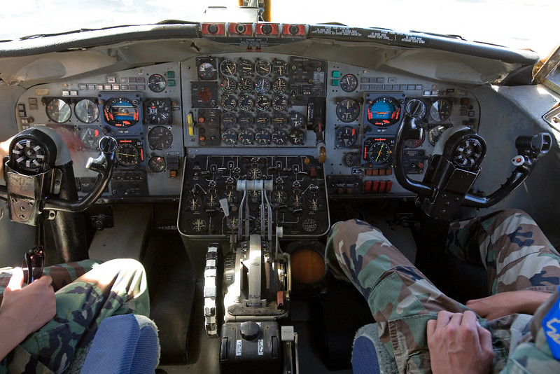 Flight deck of an old KC-135 on display at the Castle Air Museum, Atwater California.