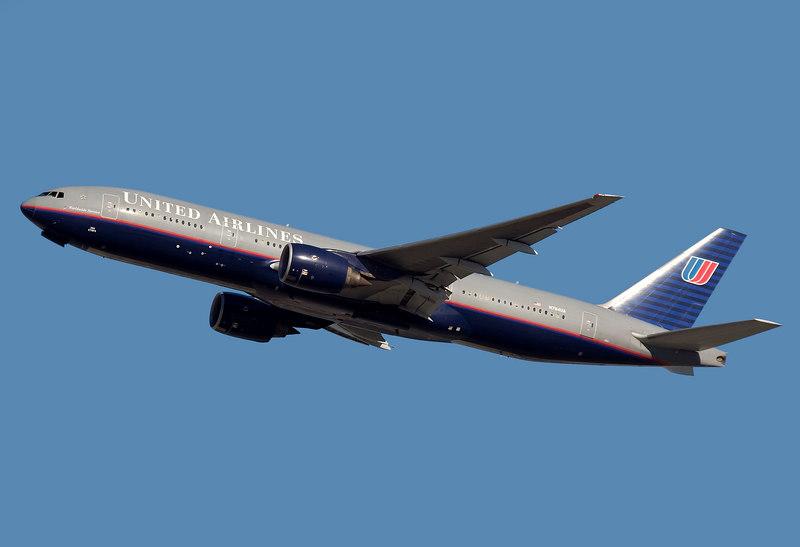 United Airlines 777 departing from San Francisco International airport (KSFO). Registration N784UA