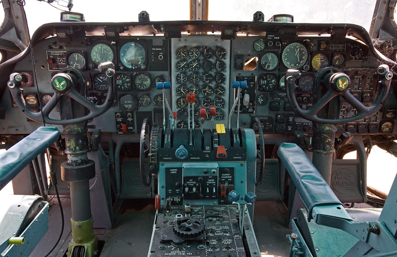 Flightdeck of a Fairchild C-123 Provider at the Castle Air Museum, Atwater California