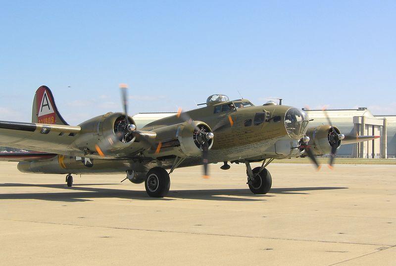 """B-17 """"Nine-o-nine"""" at Moffett Federal Air Field, Mountain View, California."""
