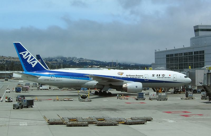 San Franciso International (KSFO). ANA 777 ready for push back.